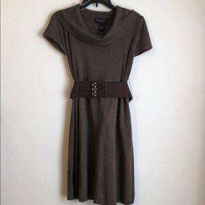 NWOT Heathered Brown Short Sleeve Sweater Dress